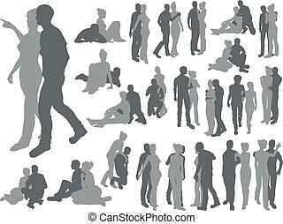 Highly detailed couple silhouettes - High quality detailed...