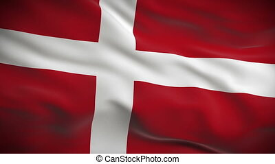 Highly detailed Danish flag ripples in the wind. Looped 3d animation for continuous playback.