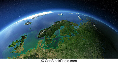Highly detailed Earth. European part of Russia