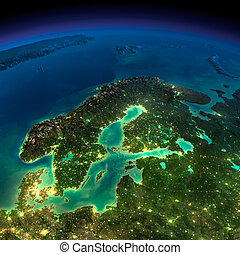 Highly detailed Earth, illuminated by moonlight. The glow of cities sheds light on the detailed exaggerated terrain. Night Earth. Europe. Scandinavia. Elements of this image furnished by NASA