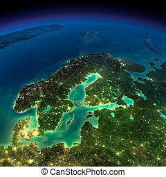Night Earth. Europe. Scandinavia - Highly detailed Earth,...