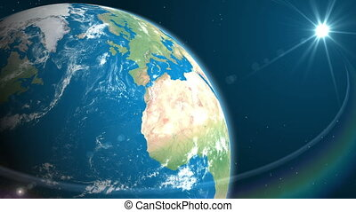 Highly detailed Earth with Sun in space.