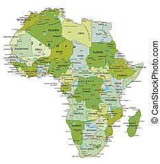 Highly detailed editable political map with separated layers. Africa.