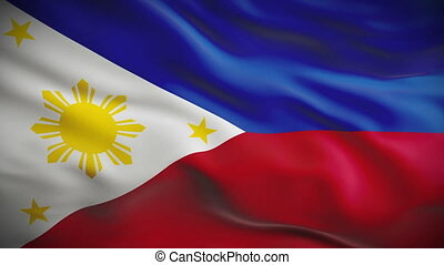 Highly detailed flag of Philippines