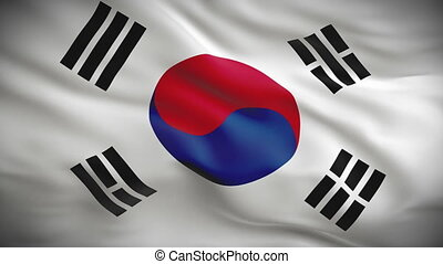 Highly detailed flag of South Korea
