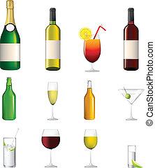 highly detailed icon collection of different alcoholic ...