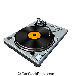 highly detailed illustration of a mixing turntable