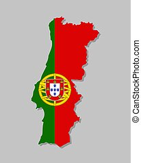 Highly detailed map of Portugal with flag.