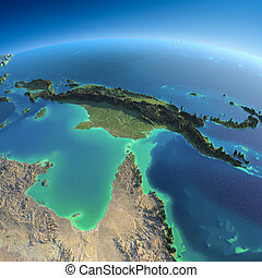 Detailed Earth. Australia and Papua New Guinea - Highly ...