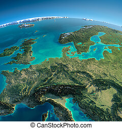 Detailed Earth. Central Europe - Highly detailed planet...