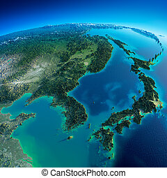 Highly detailed planet Earth in the morning. Exaggerated precise relief lit morning sun. Detailed Earth. Korea and Japan. Elements of this image furnished by NASA