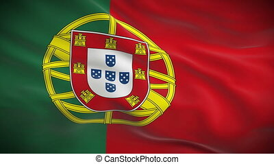 Highly detailed Portuguese flag ripples in the wind. Looped...