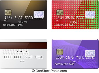 Highly detailed realistic glossy credit cards mock up set
