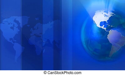 Rolling world map with abstract shapes in loop in blue