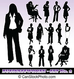 Businesswomen - Highly Detailed Silhouettes of Businesswomen...