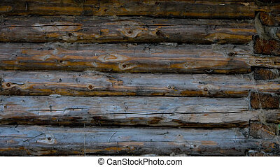 Wall of the old house - Highly detailed texture of a wooden ...