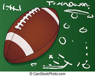 American Football Touchdown Play on a Chalk Board