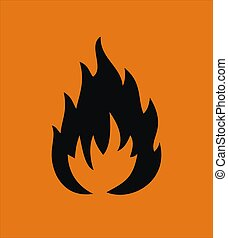 black highly flamable sign isolated on orange