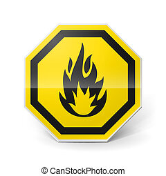Highly flammable sign - Shiny metal warning sign of highly...