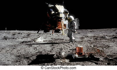 Highly realistic animation of an astronaut walking on the moon.