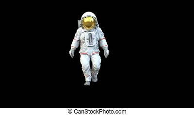 Highly realistic animation of an astronaut walking towards...