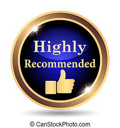 Highly recommended icon. Internet button on white background...