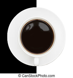 Highly stylised image of coffee cup and saucer on black and...
