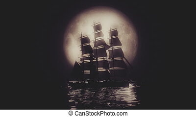 Highly stylized view of a Tall Ship