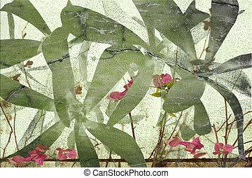 Highly textured grunge cracked flower art print