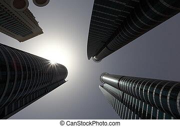 highrise, 建物, ダウンタウンに, 中に, ドバイ
