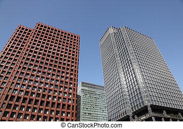 highrise, 建物, 中に, ダウンタウンに, 東京
