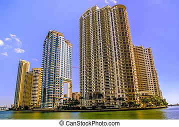 highrise, 建物, 中に, マイアミ, フロリダ