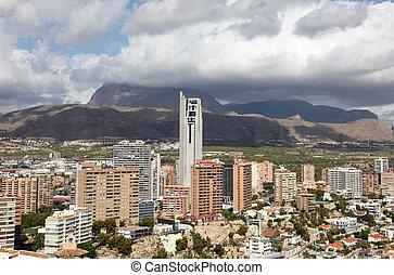 highrise, 建物, 中に, benidorm, スペイン