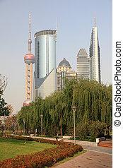 highrise, 建物, 中に, pudong, 上海, 陶磁器