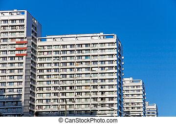 highrise, bâtiments, berli, typique