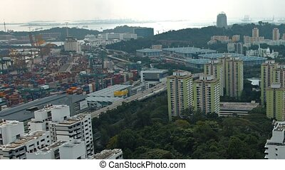 Highrise Buildings and Green Spaces in Singapore. FullHD...