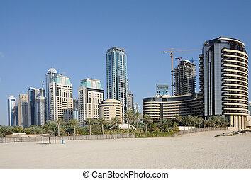 Highrise buildings on the coast in Dubai, United Arab Emirates