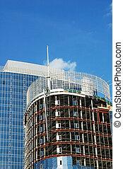 highrise, construction, asseoir, détail