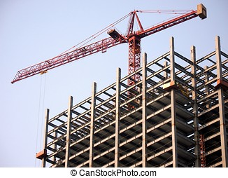 Highrise Construction - -- large steel structure with crane...