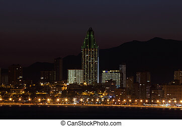 Highrise hotel buildings at the coast of Benidorm, Spain