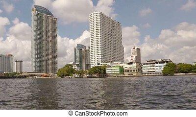 highrise, passager, vidéo, bâtiments, rivière, entiers, hd, boat., urbain