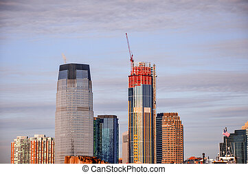 Highrises in Manhattan from Battery Park - View of the ...