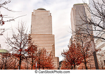 View of the highrises in Manhattan from Battery Park, NYC, USA.