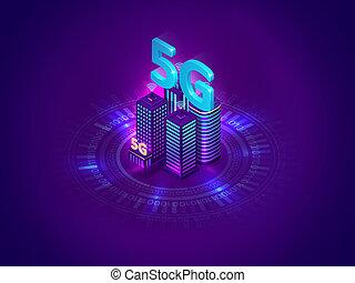 highspeed, luego, internet, 5g, generación, conexión