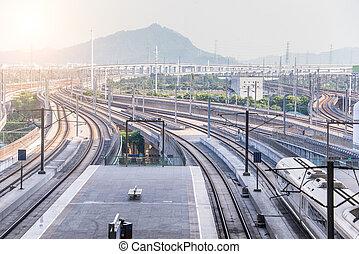 Highspeed train and railway at train terminal