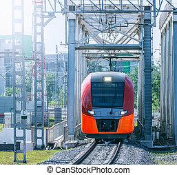 Highspeed train moves on the bridge.