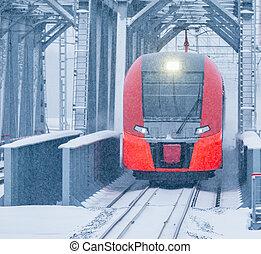 Highspeed train moves through the bridge. - Highspeed train...