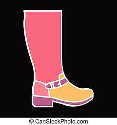 Hight boot icon, cartoon style