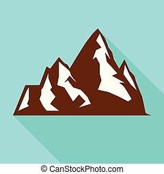 Hight mountain icon, flat style