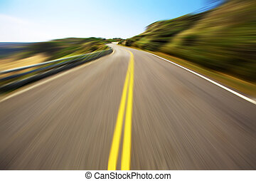 Hight speed driving on the empty road